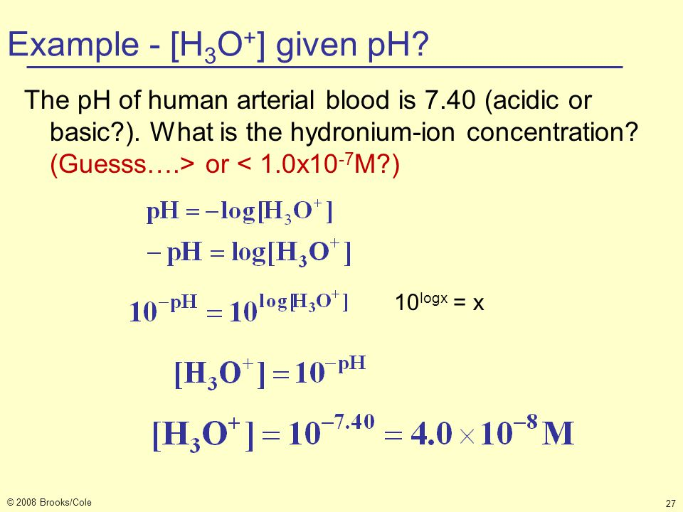 Example - [H3O+] given pH